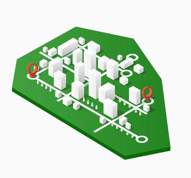 Isometrische stadtkarte, bestehend aus wolkenkratzern der stadt, blockzeiger und wegbeschreibungen