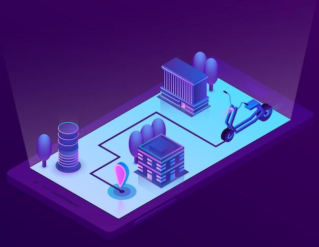 Isometrische stadtnavigationstechnologie für smartphone