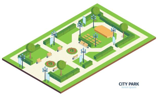 Isometrische stadtparkkomposition mit text-städtischem öffentlichem garten mit bänkenbüschen und bühnenillustration im freien,