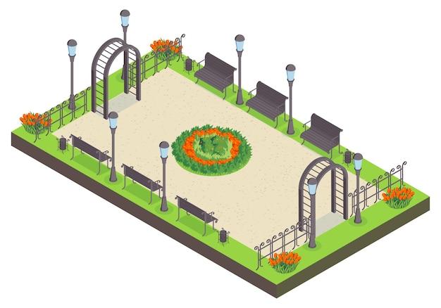Isometrische stadtparkzusammensetzung mit blick auf öffentlichen garten mit bänken blumenbeet lichter und zaun