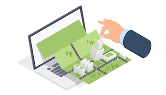 Isometrische Stadtplan auf Laptop-Bildschirm, Computer Modellierung und Projektierung der Stadt
