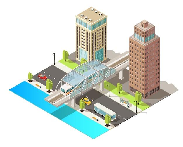 Isometrische stadtverkehrsschablone mit modernen gebäuden, die autos bus und u-bahn im stadtzentrum bewegen, isoliert