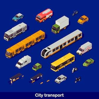 Isometrische stadtverkehrsset Premium Vektoren