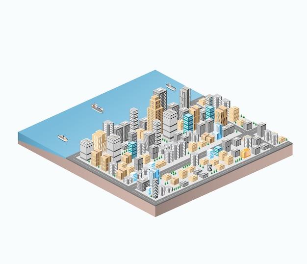 Isometrische stadtzentrum auf der karte mit einer großen anzahl von gebäuden, wolkenkratzern