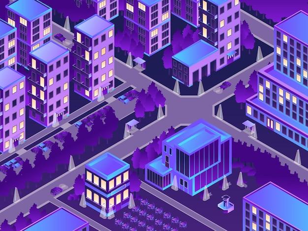 Isometrische städtische nachtillustration mit nachtlichtern in der stadtillustration
