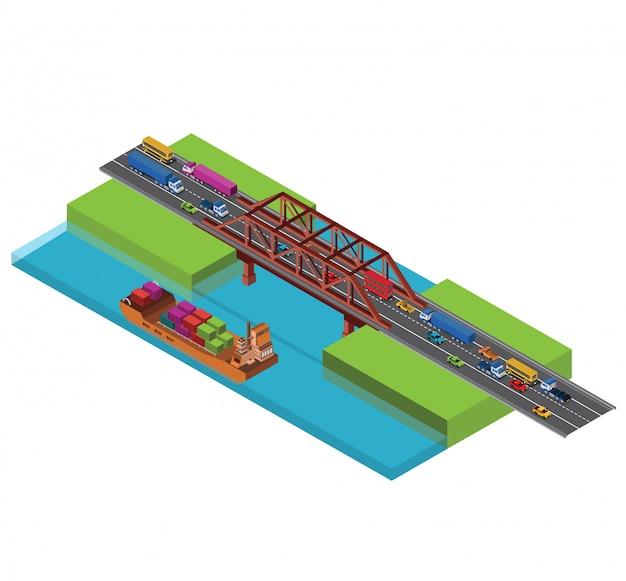 Isometrische städtische stadtbrücke mit verkehr