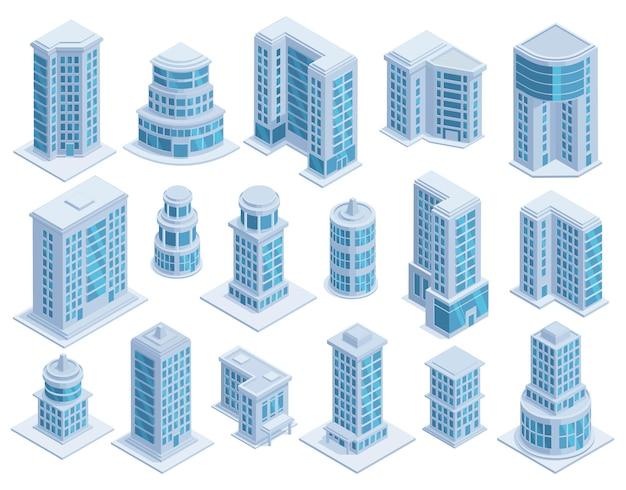 Isometrische städtische wolkenkratzer, gebäude und moderne architekturtürme. wolkenkratzerarchitekturfassaden, städtische gebäudevektorillustrationssatz. futuristische wolkenkratzer