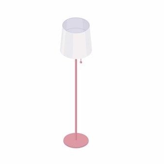 Isometrische stehlampe lokalisiert auf weißem hintergrund.