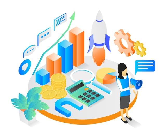 Isometrische stilillustration über marketingstrategie mit raketencharakter und diagrammleiste