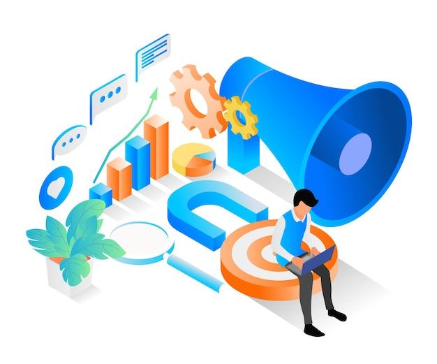 Isometrische stilillustration über marketingstrategie mit trichter und charakter