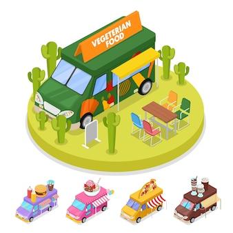 Isometrische straße vegeterian food truck mit menschen