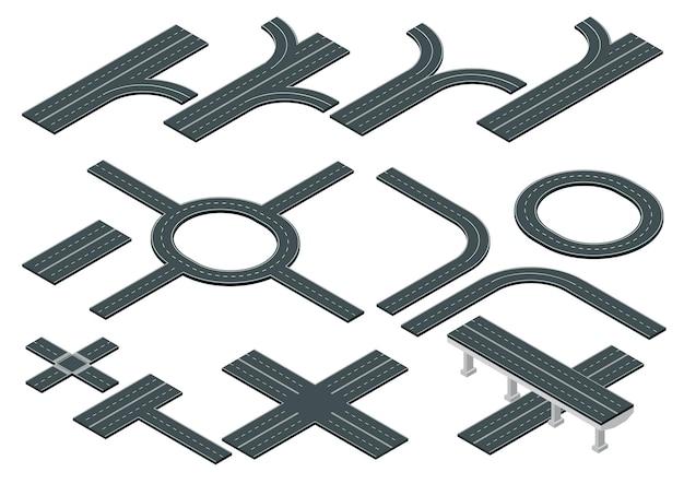 Isometrische straßen- und autobahnelemente für die erstellung von stadtplänen.