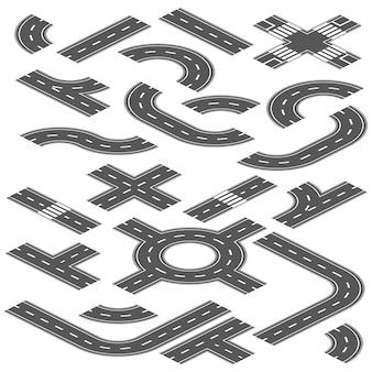 Isometrische straßen- und landstraßenvektorelemente für stadtkarteerstellung