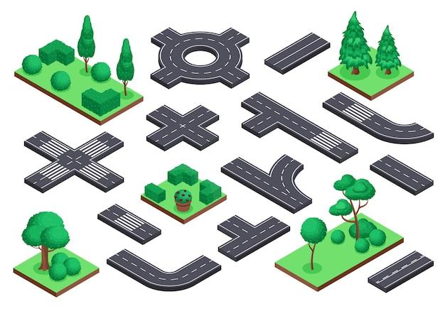 Isometrische straßen- und naturelemente asphaltstraßen-ringstraßenkreuzung. baumbüsche stadtplan