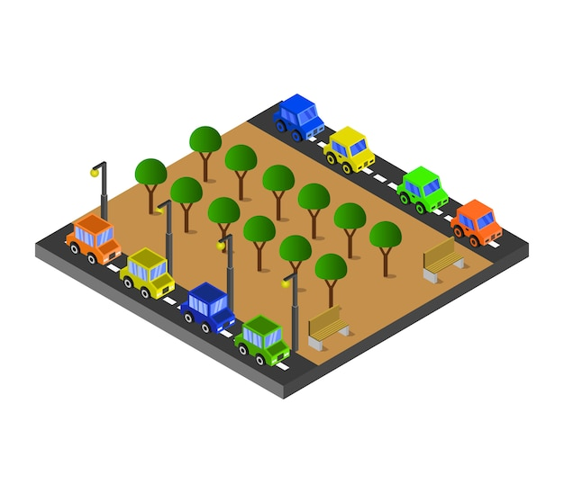 Isometrische straßen und park