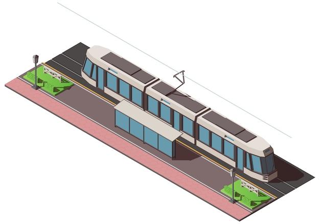 Isometrische straßenbahnhaltestelle