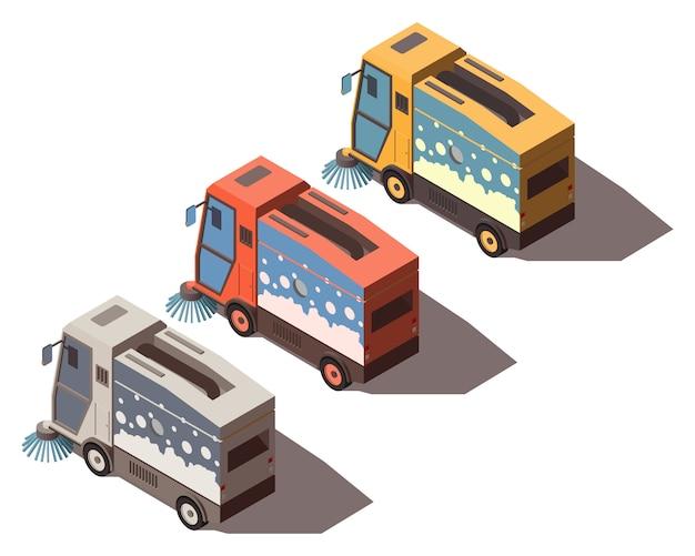 Isometrische straßenkehrmaschine Premium Vektoren