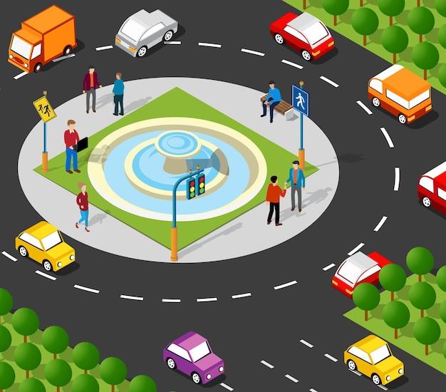 Isometrische straßenkreuzung 3d-darstellung des stadtviertels mit häusern