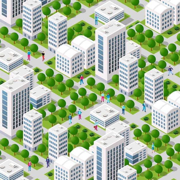 Isometrische straßenkreuzung 3d-darstellung des stadtviertels mit straßen, menschen. stockillustration für die design- und spieleindustrie.