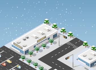 Isometrische Supermarktillustrationsstadt