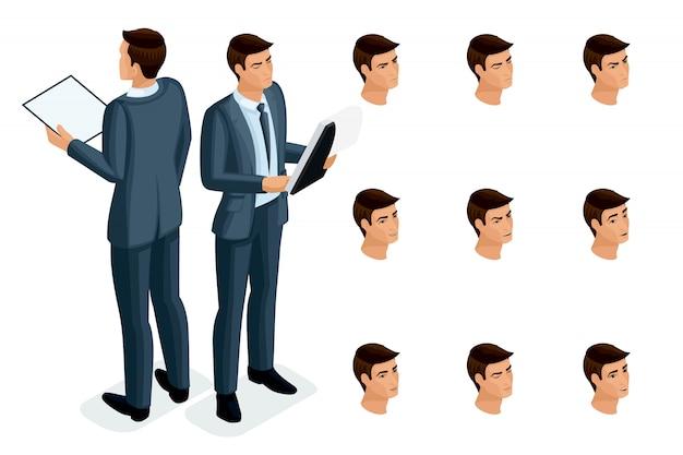 Isometrische symbole der emotionen der frau, körpervorderansicht und -rückansicht, gesicht, augen, lippen, nase. gesichtsausdruck. qualitative isometrie von menschen für illustrationen