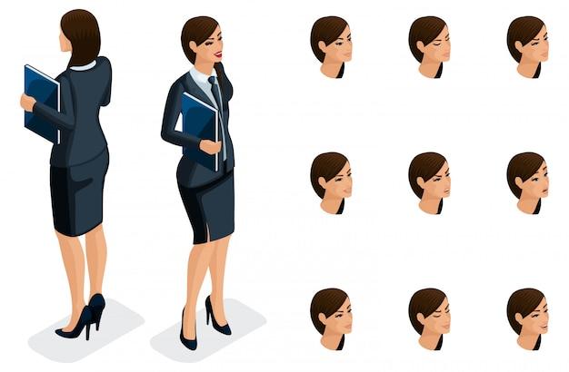 Isometrische symbole der emotionen der frau, körpervorderansicht und -rückansicht, gesicht, augen, lippen, nase. gesichtsausdruck. qualitative isometrie von menschen für