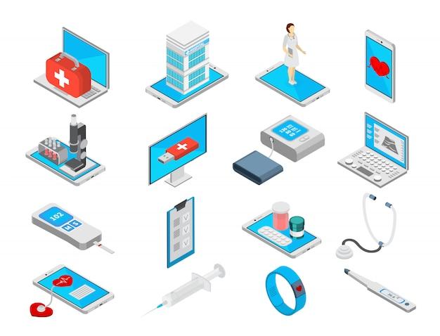 Isometrische symbole der mobilen medizin, die mit der isolierten illustration der behandlungssymbole eingestellt werden