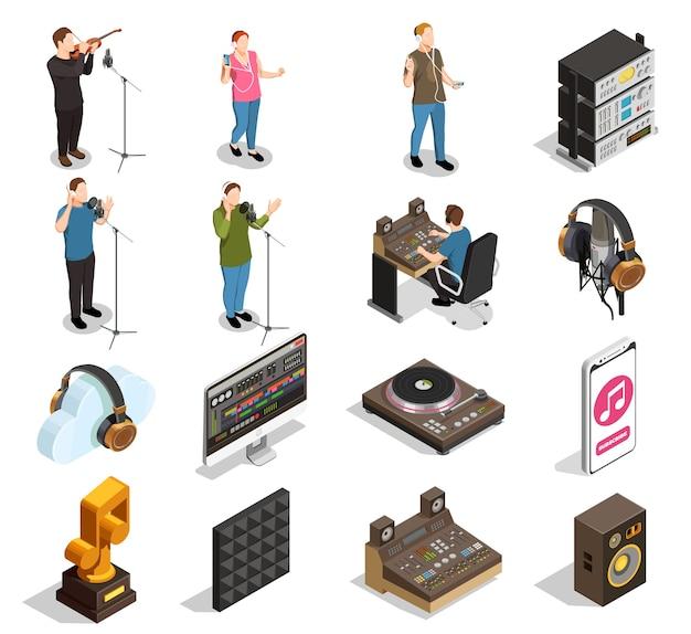 Isometrische symbole der musikindustrie, die mit isolierten aufnahmestudiosymbolen eingestellt werden