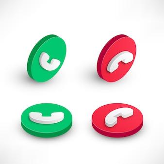 Isometrische symbole der telefonanruftaste stellen vektor für mobile app oder website der webschnittstelle ein