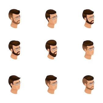 Isometrische symbole des kopfes der frisur, gesichter, augen, lippen, männliche emotionen. qualitative isometrie von menschen für illustrationen