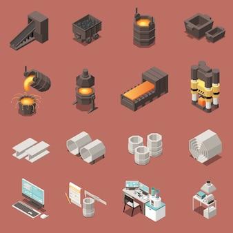 Isometrische symbole, die mit der isolierten vektorillustration der metallindustrieausrüstung 3d eingestellt werden