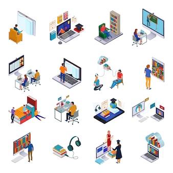 Isometrische symbole, die mit personen und verschiedenen geräten zum lesen und lernen in der online-bibliothek 3d isoliert eingestellt werden
