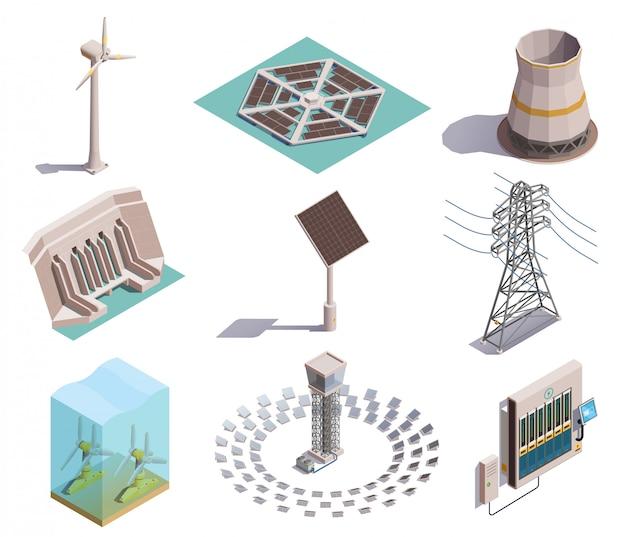 Isometrische symbole für die erzeugung grüner energie, die mit dem wasserkraftwerk des windstationsgenerators solarstation eingestellt werden