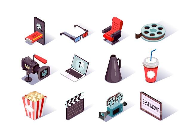 Isometrische symbole für die filmproduktion festgelegt.