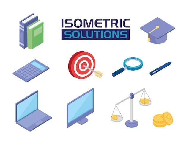 Isometrische symbole für social media-lösungen