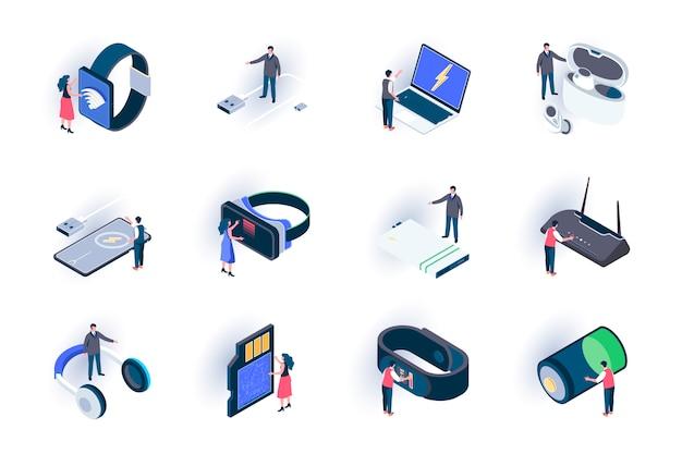 Isometrische symbole für technologiegeräte festgelegt. innovative intelligente geräte, moderne digitale technologien in der flachen illustration des lebens. mobile digitale geräte 3d isometrie piktogramme mit personen zeichen.