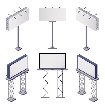 Isometrische symbole für werbekonstruktionen mit rechteckigen leeren werbetafeln auf weißer isolierter 3d-illustration