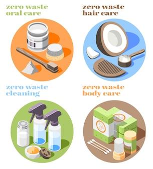 Isometrische symbole mit null abfallprodukten für die reinigung von körper- und haarpflege 3d isoliert