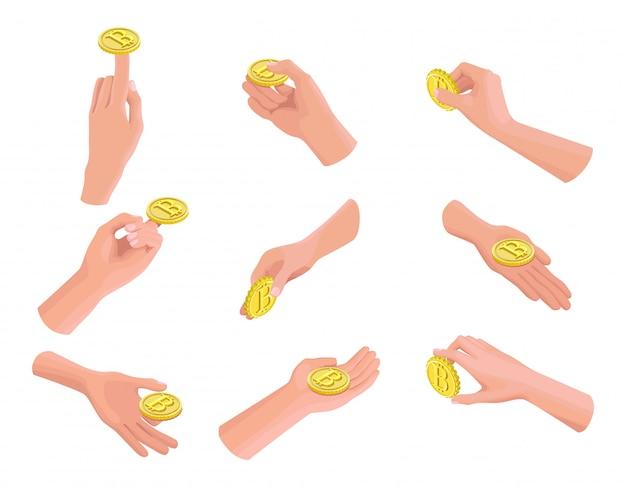 Isometrische symbole von bitcoin in händen
