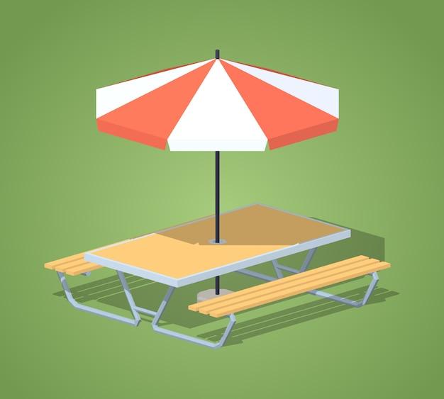 Isometrische tabelle des cafés 3d mit sonnenschirm