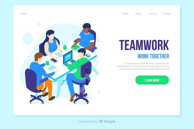 Isometrische teamwork landing page vorlage