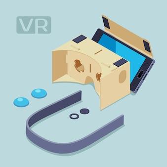 Isometrische teile des headsets für virtuelle realität aus pappe. begriffsillustration passend für die werbung und die förderung