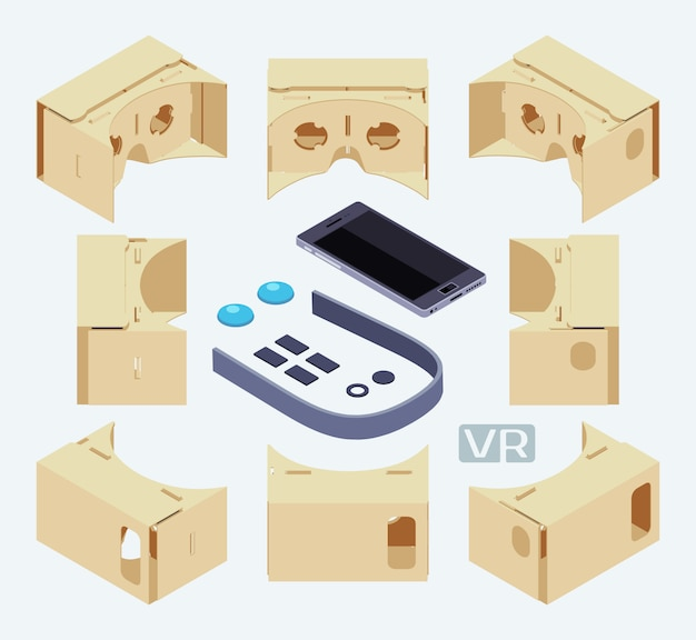 Isometrische teile des headsets für virtuelle realität aus pappe. die objekte werden vor dem weißen hintergrund isoliert und von verschiedenen seiten dargestellt
