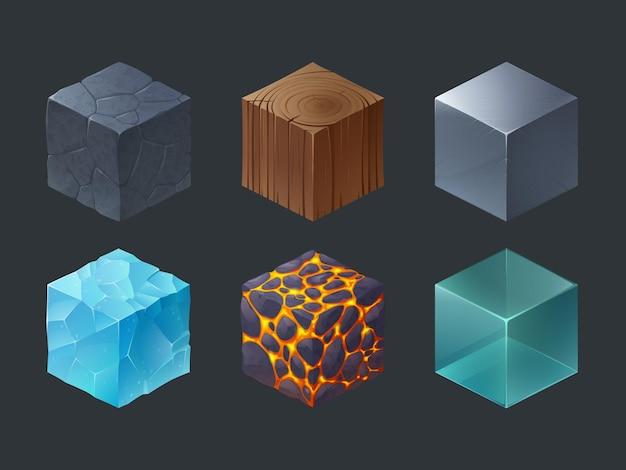 Isometrische texturwürfel für das spiel