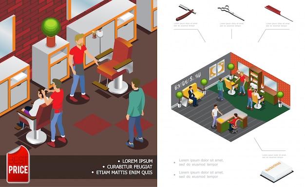 Isometrische trendige friseurladen zusammensetzung mit friseur kunden salon innenelemente empfang schere kamm rasiermesser handtücher