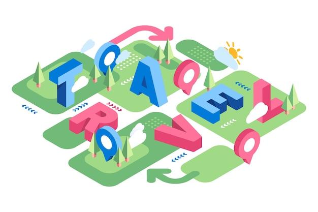 Isometrische typografische nachricht und sonne