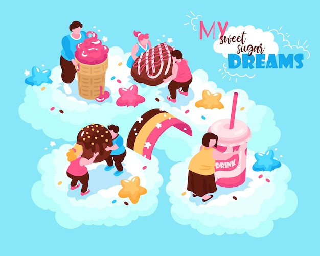 Isometrische überessende gefräßigkeitskomposition mit begriffsbildern von süßen süßwaren und von fetten leuten auf wolkenillustration