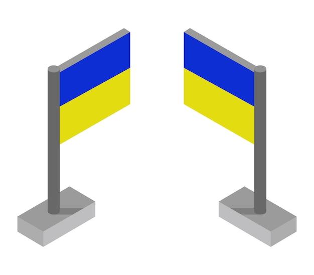 Isometrische ukrainische flagge