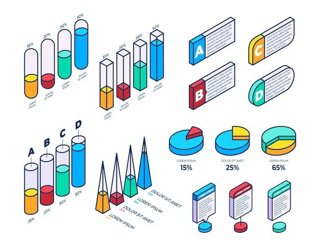 Isometrische umrissinfografik-elementsammlung outline