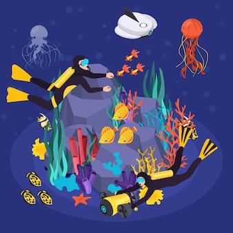Isometrische unterwasserfahrzeuge bearbeiten die ausrüstungszusammensetzung mit zwei tauchern und einem unterwasserschiff, die das meer erkunden